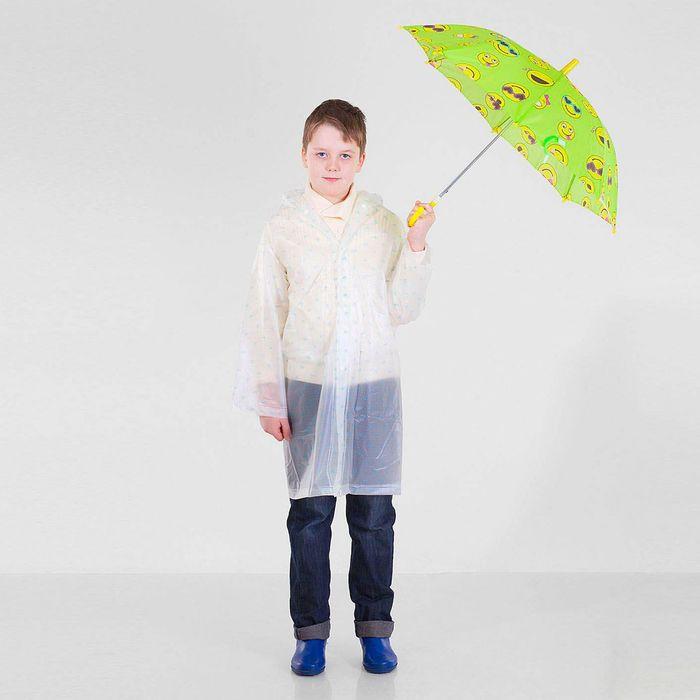 """Зонт детский полуавтоматический """"Забавные смайлы"""", r=37см, цвет салатовый"""