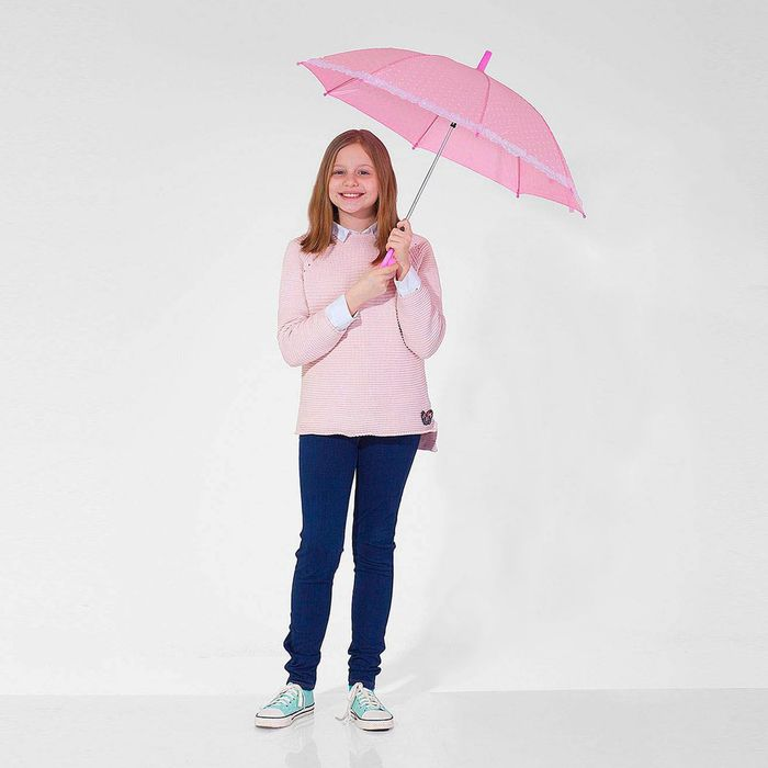 """Зонт детский полуавтоматический """"Горох"""", с рюшами, r=38см, цвет розовый"""