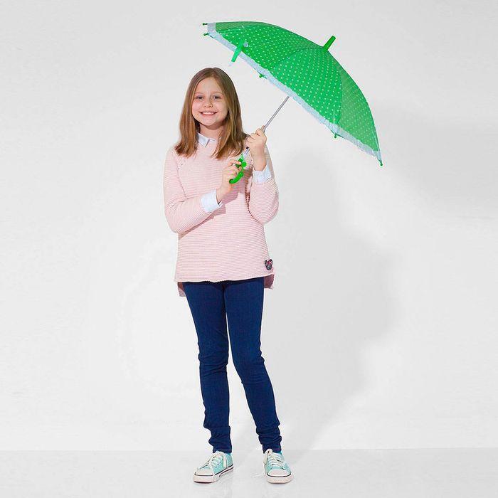"""Зонт детский полуавтоматический """"Горох"""", с рюшами, r=38см, цвет зелёный"""