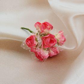 Бутоньерка 'Букет' 9см, розовая (набор 6 шт) Ош