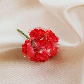 Бутоньерка 'Букет' 9см, красная (набор 6 шт) Ош