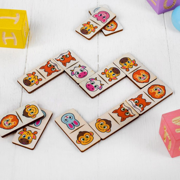 """Домино """"Животные"""",28 элементов, размер плашки: 3 × 6 × 0,4 см"""