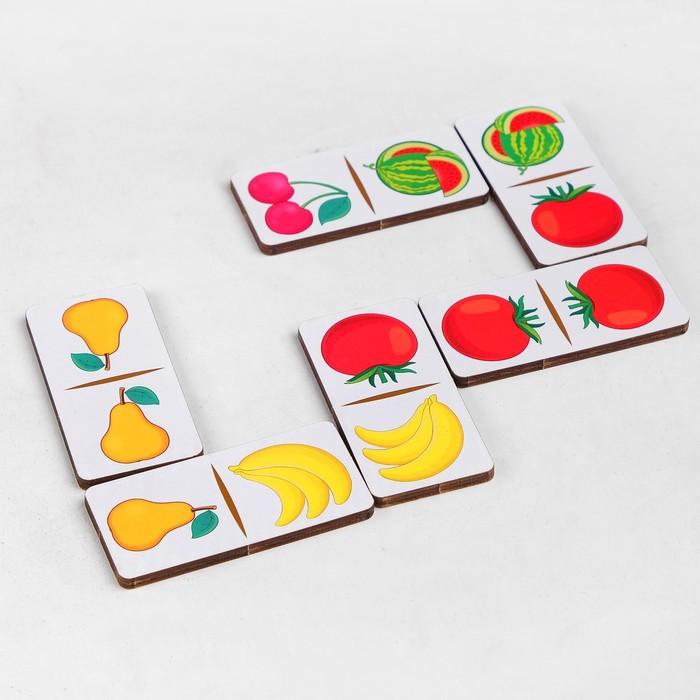 """Домино """"Фрукты-овощи"""", 28 элементов, размер плашки: 3 × 6 × 0,4 см"""