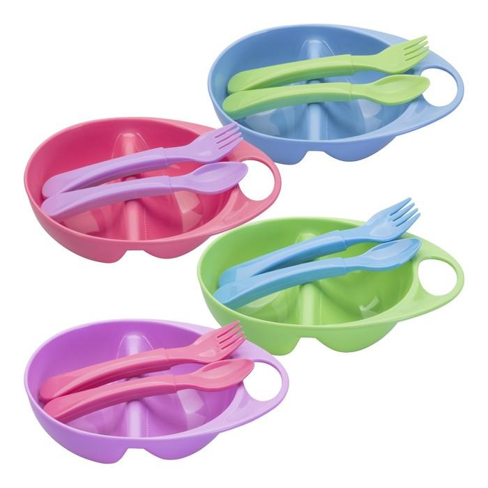 Набор для кормления, 3 предмета: тарелка двухсекционная, ложка, вилка, от 4 мес., цвета МИКС - фото 297445863