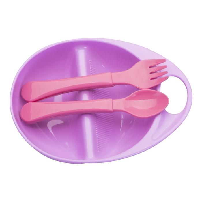 Набор для кормления, 3 предмета: тарелка двухсекционная, ложка, вилка, от 4 мес., цвета МИКС - фото 125987062