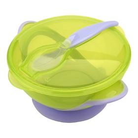 Набор для кормления, 3 предмета: тарелка на присоске, крышка, ложка, от 4 мес., цвет зеленый