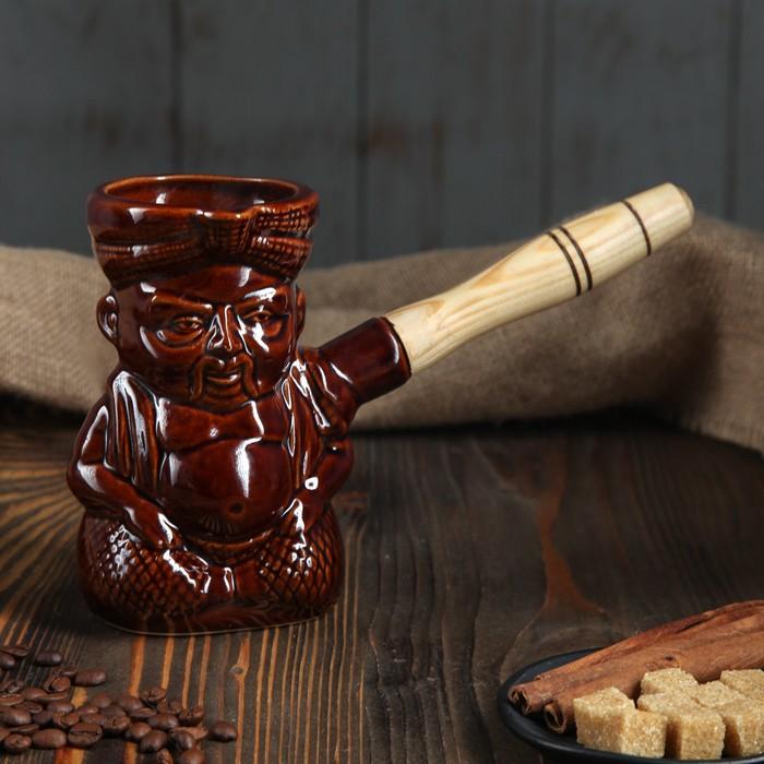 """Турка """"Индус"""" 0,4 л, керамическая, с деревянной ручкой"""