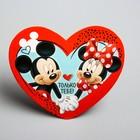 "Открытка-валентинка ""Только тебе"" Микки Маус и Минни Маус, 7х6см"
