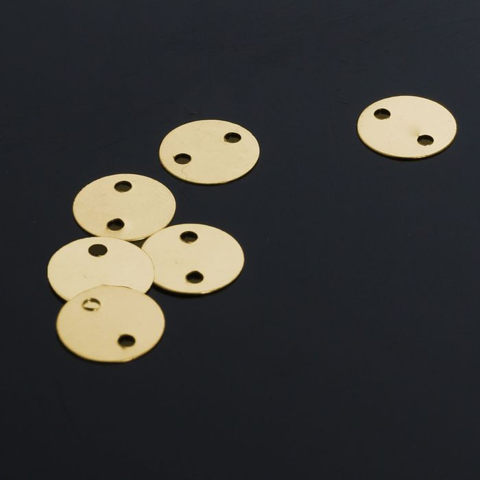 Рондель, круг 8мм 2 отверстия (набор 40шт) СМ-773-8, цвет золото