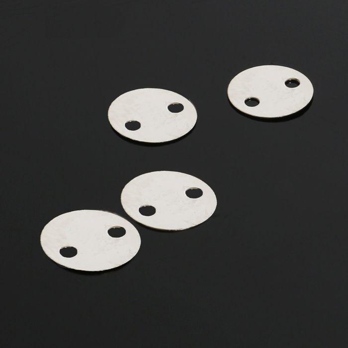 Рондель, круг 8мм 2 отверстия (набор 40шт) СМ-773-8, цвет серебро