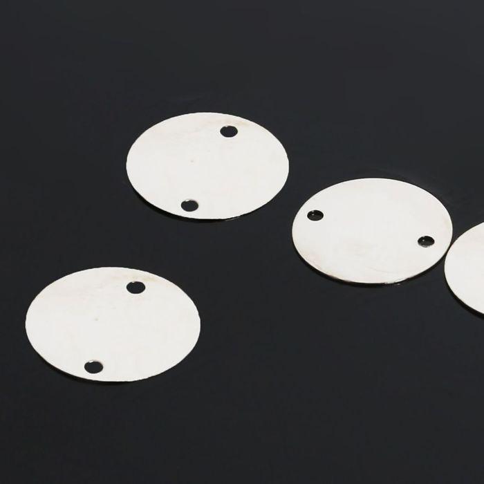 Рондель, круг 12мм 2 отверстия (набор 40шт) СМ-773-10, цвет серебро