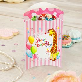 Пакет подарочный, «Жирафик»,14х24 см, розовый цвет набор 6 шт.