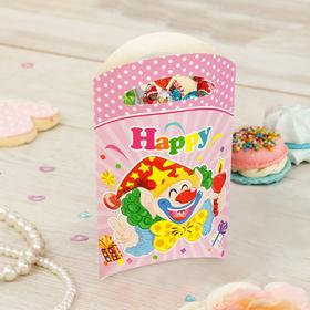 Пакет подарочный «Клоун», со свечой, 14х24 см, розовый цвет, набор 6 шт.