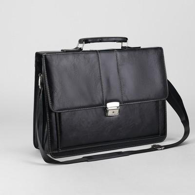 Портфель деловой, 3 отдела, 2 наружных кармана, длинный ремень, цвет чёрный