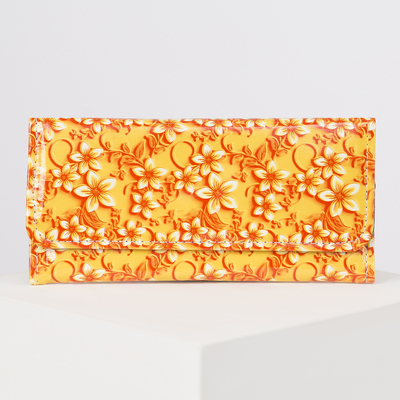 Wallet women on the valve, 2 section for coins, color yellow-orange