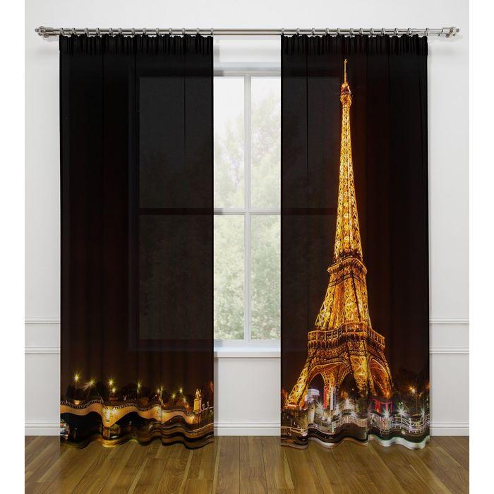 """Фототюль """"Ночной Париж"""", ширина 145 см, высота 260 см-2 шт., вуаль 03362"""