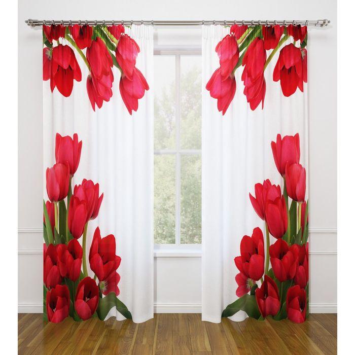 """Фотошторы """"Тюльпаны"""", ширина 145 см, высота 260 см-2 шт., габардин 07464"""