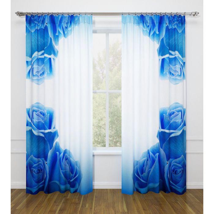 """Фотошторы """"Синие розы"""", ширина 145 см, высота 260 см-2 шт., габардин 07478"""