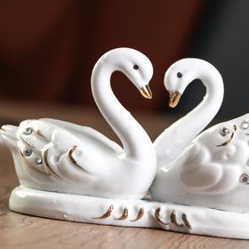 "Souvenir porcelain under ""2 Swan lake"" rhinestone"