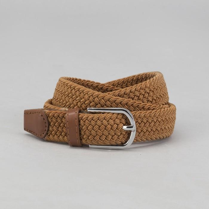 Ремень детский «Плетение», резинка, пряжка металл, ширина - 2,5 см, цвет коричневый