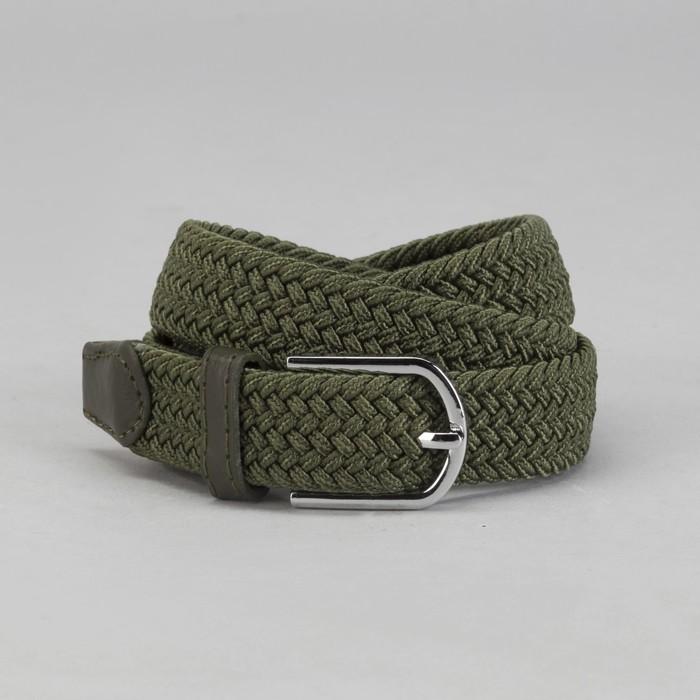 Ремень детский «Плетение», резинка, пряжка металл, ширина - 2,5 см, цвет зелёный