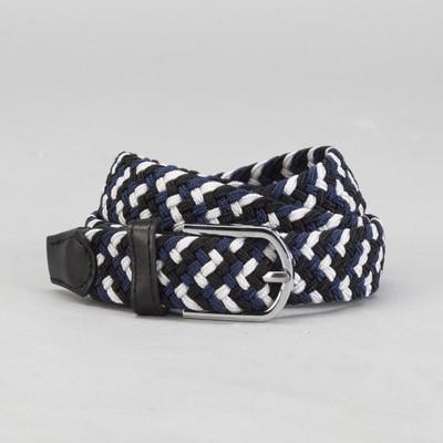 Ремень детский «Плетение», резинка, пряжка металл, ширина - 2,5 см, цвет чёрный/синий/белый