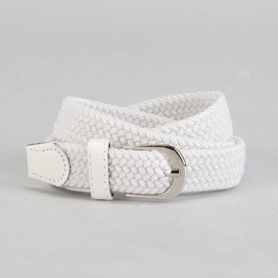 Ремень жен 04-06-02-01, Плетение, 2,5*105*0,3см, резинка, пряжка металл, белый