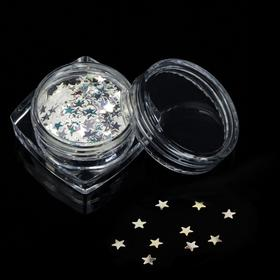 "Sequins ""Star"" for decorating nails, 3 g, color transparent"