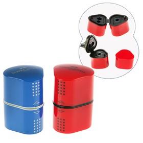 Точилка 3 отверстия с контейнером Faber-Castell TRIO Grip 2001 для стандартных и трёхгранных карандашей, цвет красный/синий