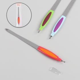Пилка-триммер металлическая для ногтей, прорезиненная ручка, 19 см, цвет МИКС в Донецке