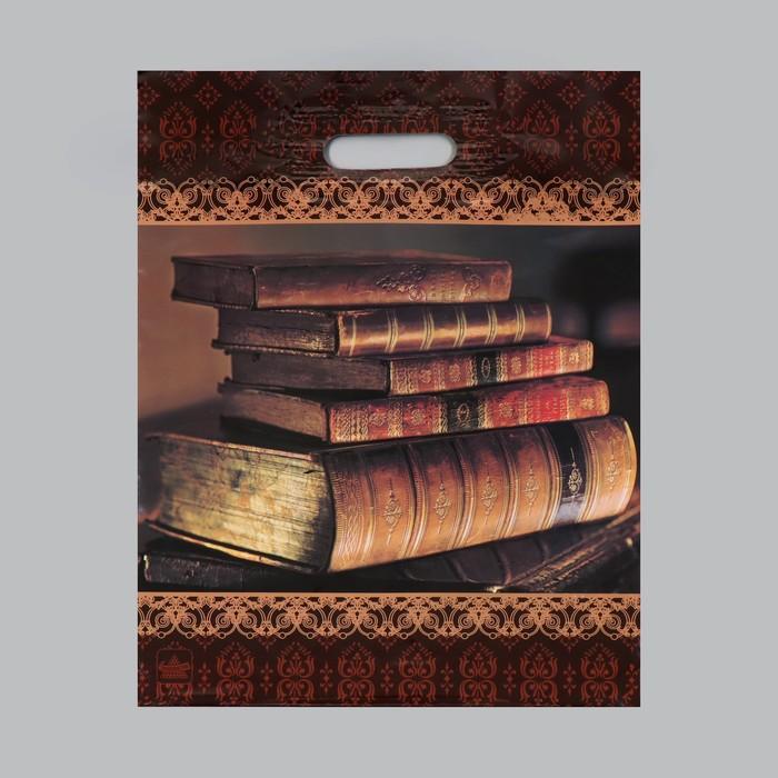 """Пакет """"Книги"""", полиэтиленовый с вырубной ручкой, 31 х 40 см, 60 мкм - фото 308983586"""