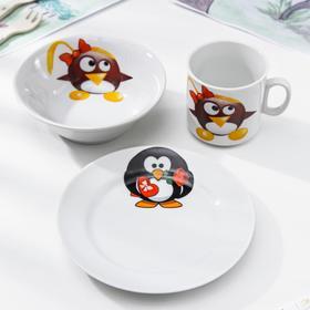 """Набор посуды """"Пингвинчики"""", 3 предмета, МИКС"""