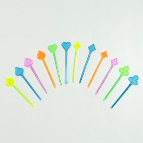 Шпажки для канапе «Вилка», набор 24 шт., цвета МИКС