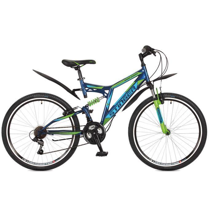 """Велосипед 26"""" Stinger Highlander 100V, 2017, цвет синий, размер 16"""""""