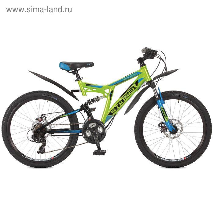 "Велосипед 24"" Stinger Highlander 200D, 2017, цвет зелёный, размер 16,5"""