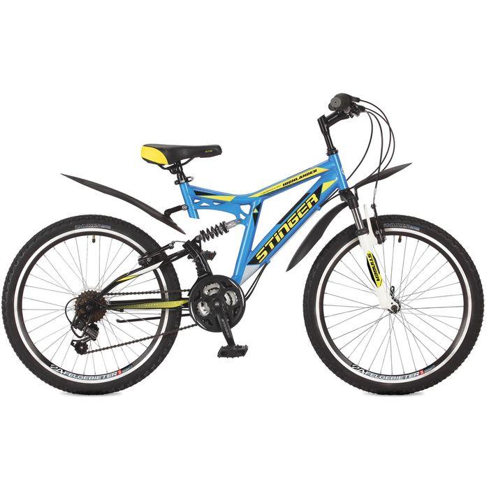 """Велосипед 24"""" Stinger Highlander 100V, 2017, цвет синий, размер 16,5"""""""