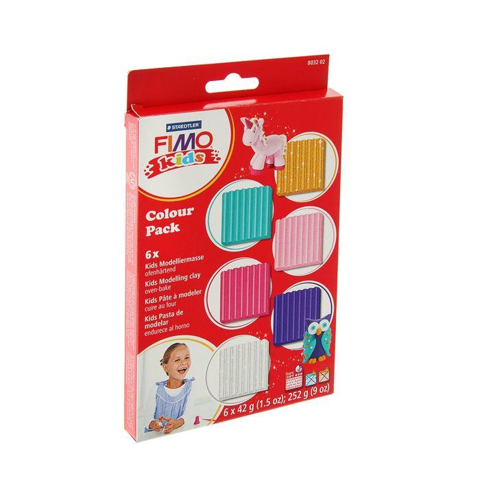 Набор пластики - полимерной глины для детей FIMO kids, 6 цветов по 42 г, половинчатые блоки