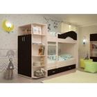 Кровать 2-х ярусная 800х1900 с ящиками и шкафом, венге/млечный  дуб
