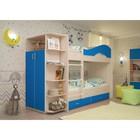 Кровать 2-х ярусная 800х1900 с ящиками и шкафом, млечный  дуб/синий