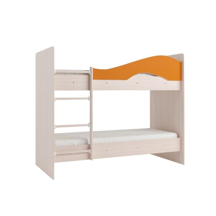 Кровать 2-х ярусная 800х1900 млечный  дуб/оранж