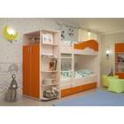 Кровать 2-х ярусная 800х1900 с ящиками и шкафом, млечный  дуб/оранж
