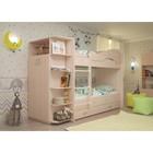 Кровать 2-х ярусная 800х1900 с ящиками и шкафом, млечный дуб