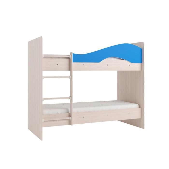 Кровать 2-х ярусная 800х1900 млечный  дуб/синий