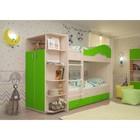 Кровать 2-х ярусная 800х1900 с ящиками и шкафом, млечный  дуб/лайм