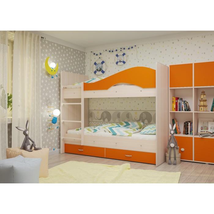 Кровать 2-х ярусная 800х1900 с ящиками, млечный  дуб/оранж