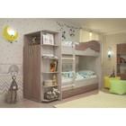 Кровать 2-х ярусная 800х1900 с ящиками и шкафом, ясень шимо