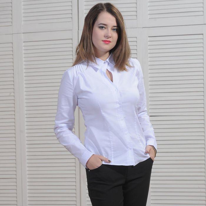 80db32a30417385 Рубашка женская классическая, размер 56, рост 164 см, цвет белый в ...