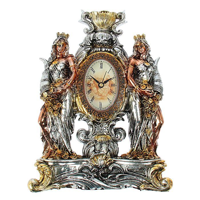 """Сувенирные часы """"Две Фортуны"""", цвет золото-серебро"""