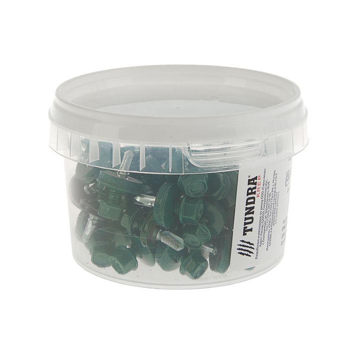 Саморезы кровельные TUNDRA krep, 5.5х19 мм, сверло, цвет зеленый RAL 6005, 60 шт.