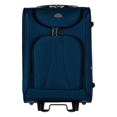 Чемодан на молнии, 1 отдел, 4 наружных кармана, цвет синий